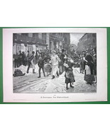 CHRISTMAS TIME in Big City Busy Street Scene - VICTORIAN Era Original En... - $13.49