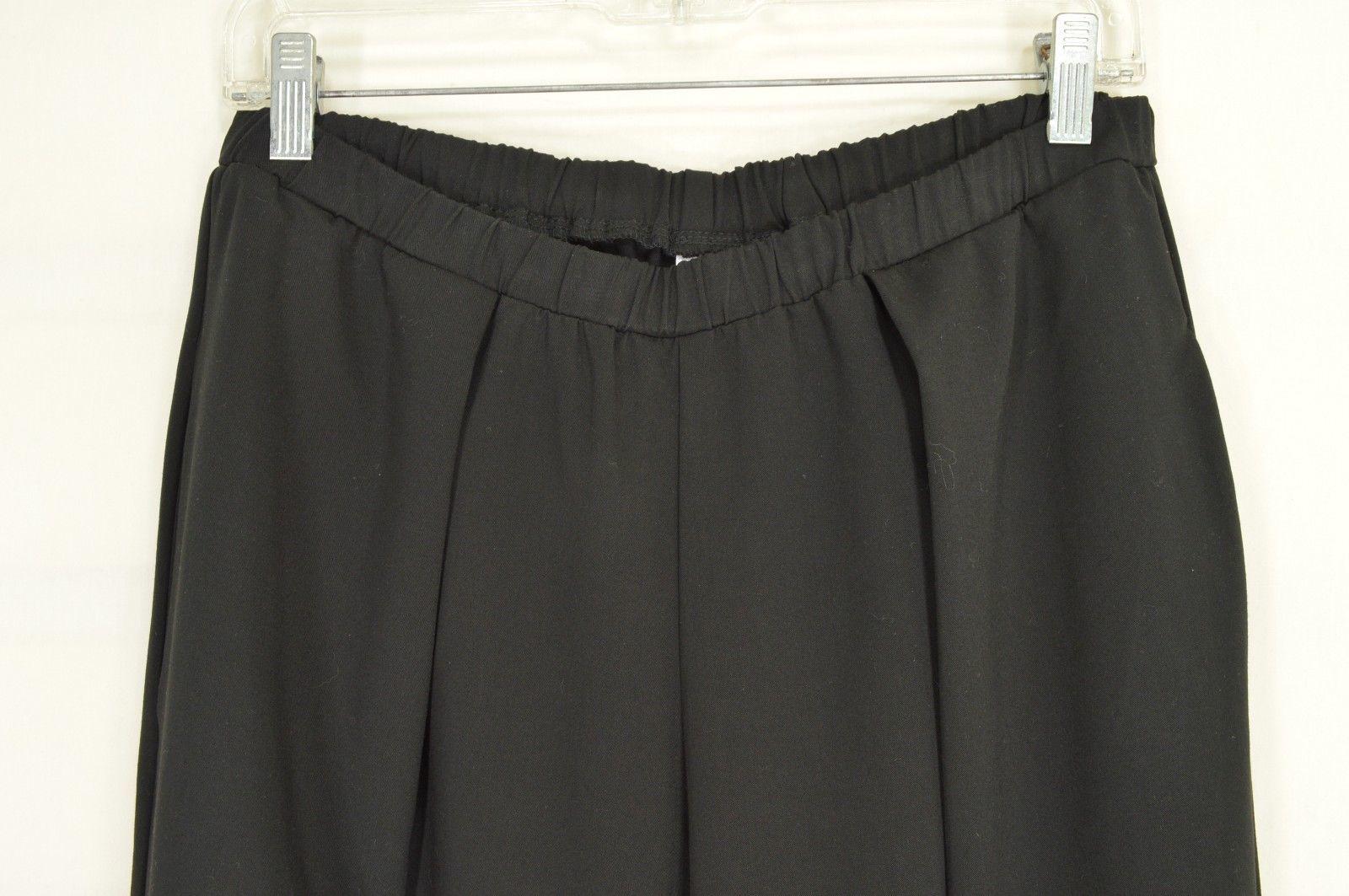 1 Planet Lauren Grossman pants SZ 3 black Lagenlook wide leg pleat pockets USA