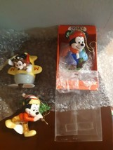 Set of 3 Vintage Disney Schmid Ornaments Mickey Mouse Plane Characters Christmas - $26.68