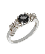 Bertha Juliet 18k White Gold Plated Black Cluster Ring Size 9 - $80.00