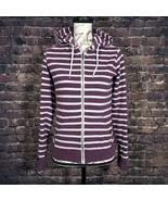 ZINE Full Zip Womens Long Sleeve Purple Striped Hooded Sweatshirt Hoodie... - $14.36