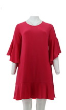 Isaac Mizrahi Pebble Knit Cascade Bell Slv Dress Perfect Pink S NEW A305247 - $31.66