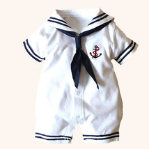 Newborn baby clothes White Navy Sailor uniforms summer baby rompers Shor... - $19.48 CAD+