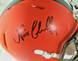 NICK CHUBB/ AUTOGRAPHED CLEVELAND BROWNS RIDDELL BRAND MINI HELMET / COA image 2