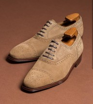 Handmade Men's Beige Heart Medallion Lace Up Dress/Formal Suede Oxford  Shoes image 1
