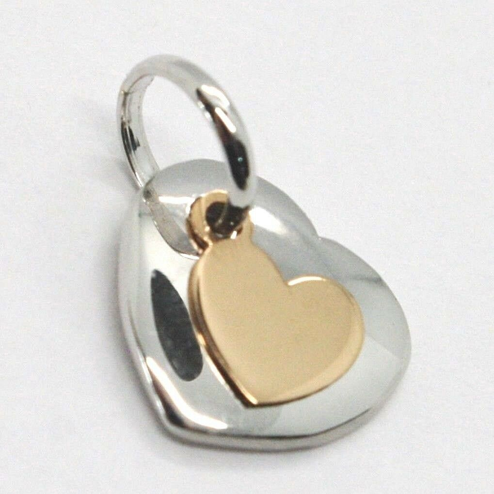 PENDANT ROSE GOLD WHITE 750 18K, DOUBLE HEART OVERLAID, MADE IN ITALY