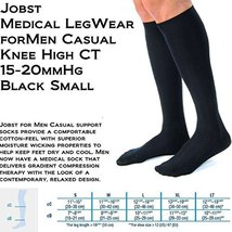 Men's 15-20 mmHg Moderate Casual Knee High Support Sock Size: Small, Color: Blac - $38.32