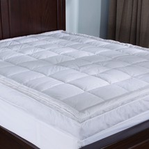 Down-top Bed Queen Mattress Topper Baffle Box 4-inch Gusset Feather Comf... - $177.64