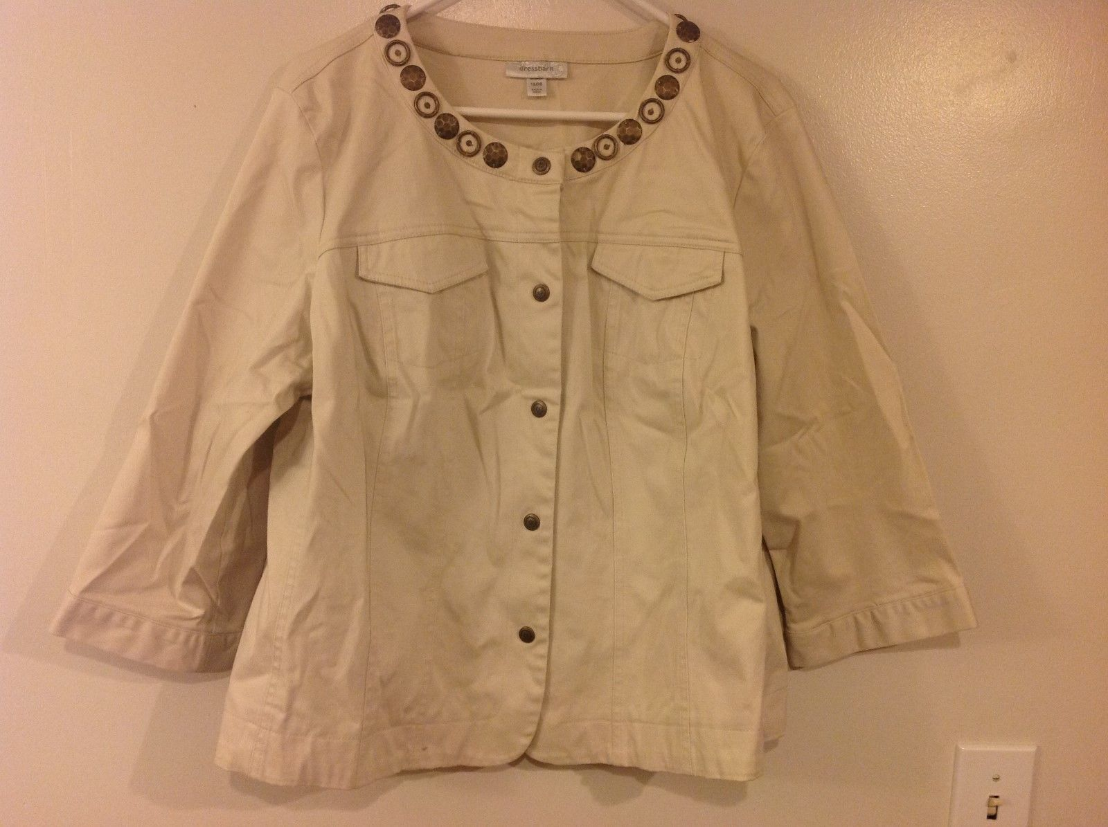 DressBarn Sand Colored 3/4 Sleeve Short Jacket Sz 18/20