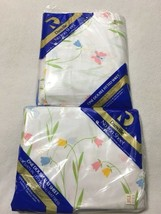 NEW Danville Vtg Double Flat Fitted Sheet Set Tulip No Iron White Blue Pink - $17.99