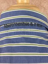Abercrombie & Fitch Muscle Long Sleeve Button Down Shirt Blue Stripe Men's Large image 6