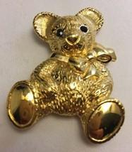 Vintage Signed Napier Teddy Bear Pin Rhinestone Eyes Bow Brooch - $19.28