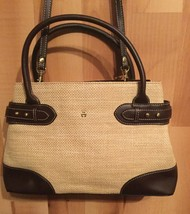 "Vintage Etienne Aigner Woven Handbag Jute ManMade Trim Brown Tan 13""x8.5""x4"" - $20.67"