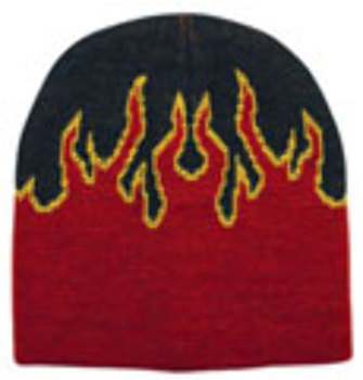 Case of [144] Adult Beanie Flame Cap - Red/Black