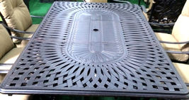 11 piece aluminum outdoor dining set patio chairs table Santa Anita bronze image 9