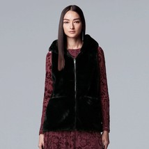 Vera Wang Hooded SOFT Faux-Fur Vest w Large Pockets - Black - Small S/M - $44.47