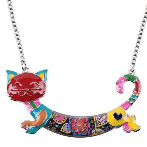 Bonsny Cute Happy Enamel Ladies Cat Themed Necklace / Choker image 2