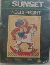 Sunset Needlepoint 1983 Ride 'Em Teddy Wool Kit 9 x12 Vintage New in Pac... - $19.34