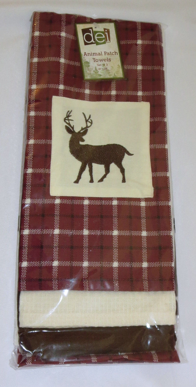 Primary image for Deer Dish Towel Set (3) Maroon Plaid Embroidered Off White Brown Kitchen Cotton