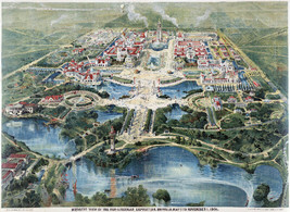 Vintage Art POSTER.Home wall.1901 Aerial Buffalo Exposition.Room interio... - $10.89+