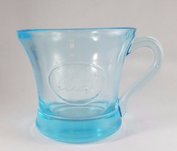 Old Pressed Glass Mug/Cup - Sky Blue Glass with Embossed Rabbit - $9.90