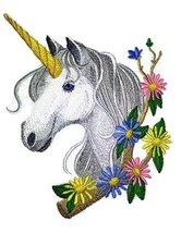 Custom Legendary Mythical Unique [Unicorn In Blooms] Embroidery Iron On/... - $16.82