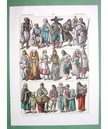 ARABS of Africa Modern Costume Moors Women Children - COLOR Antique Print - $17.55