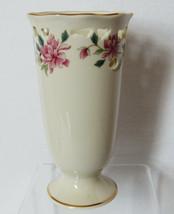 Lenox Porcelain Barrington Pink Floral Pierced Vase Gold Trim USA - $34.65