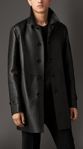 Men Leather Coat Winter Long Leather Coat Genuine Real Leather Trench COAT-UK34 - $214.46