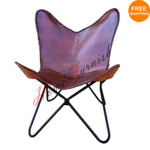 Leder Schmetterling Arm Stuhl Schmetterling Kuh Leder Sessel Schmetterling Stuhl - $220.00