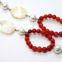 Necklace Silver 925, Circles Coral, Nacre Oval and White Pearls image 4