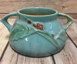 Roseville Pottery Sugar Bowl Double Handled Windcraft Blue Vintage - $56.09