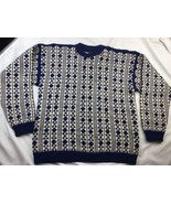 Hand Made Mens Large Wool Hand Knit Wool Nordic Sweater Blue Cream - $28.04