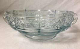 Vintage Jeannette Blue Tint Glass Candy Dish Bowl Aztec Rose 2 Handles E... - $14.80