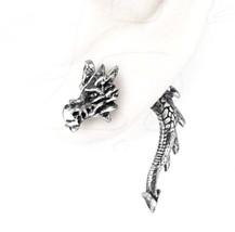 Fierce Tor Dragon Head Tail Single Post Earring Faux Gauge E324 Alchemy Gothic - $24.95