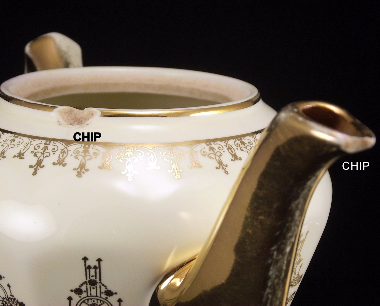 Hall China Albany 6 cup Gold Label Teapot Reflections design