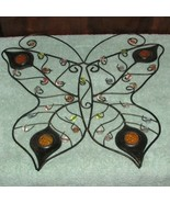 butterfly wall hanging black wire outline w/yellow beads/accents (pantry) - $14.03