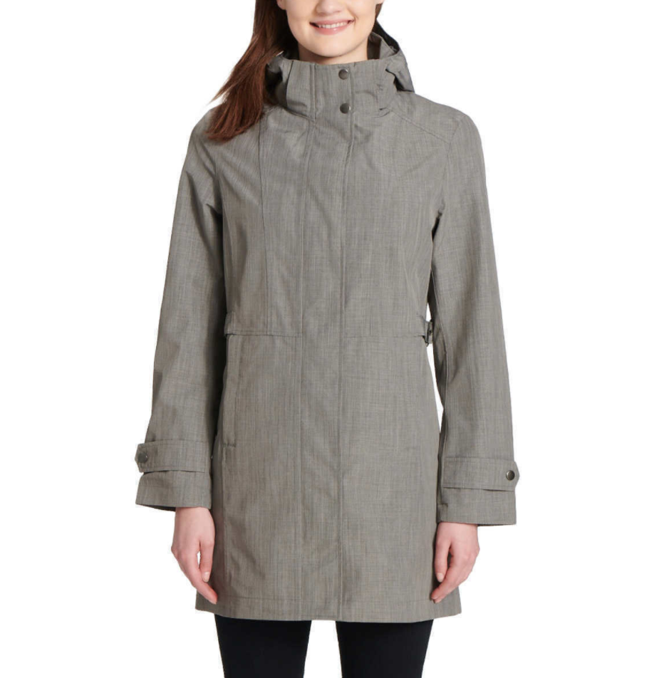 NEW Kirkland Signature Ladies' Light Grey Trench Rain Coat Hooded Jacket Large