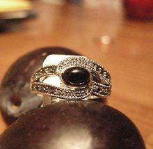 Silver Rhodium Ring Onyx Marcasite Set - $15.95