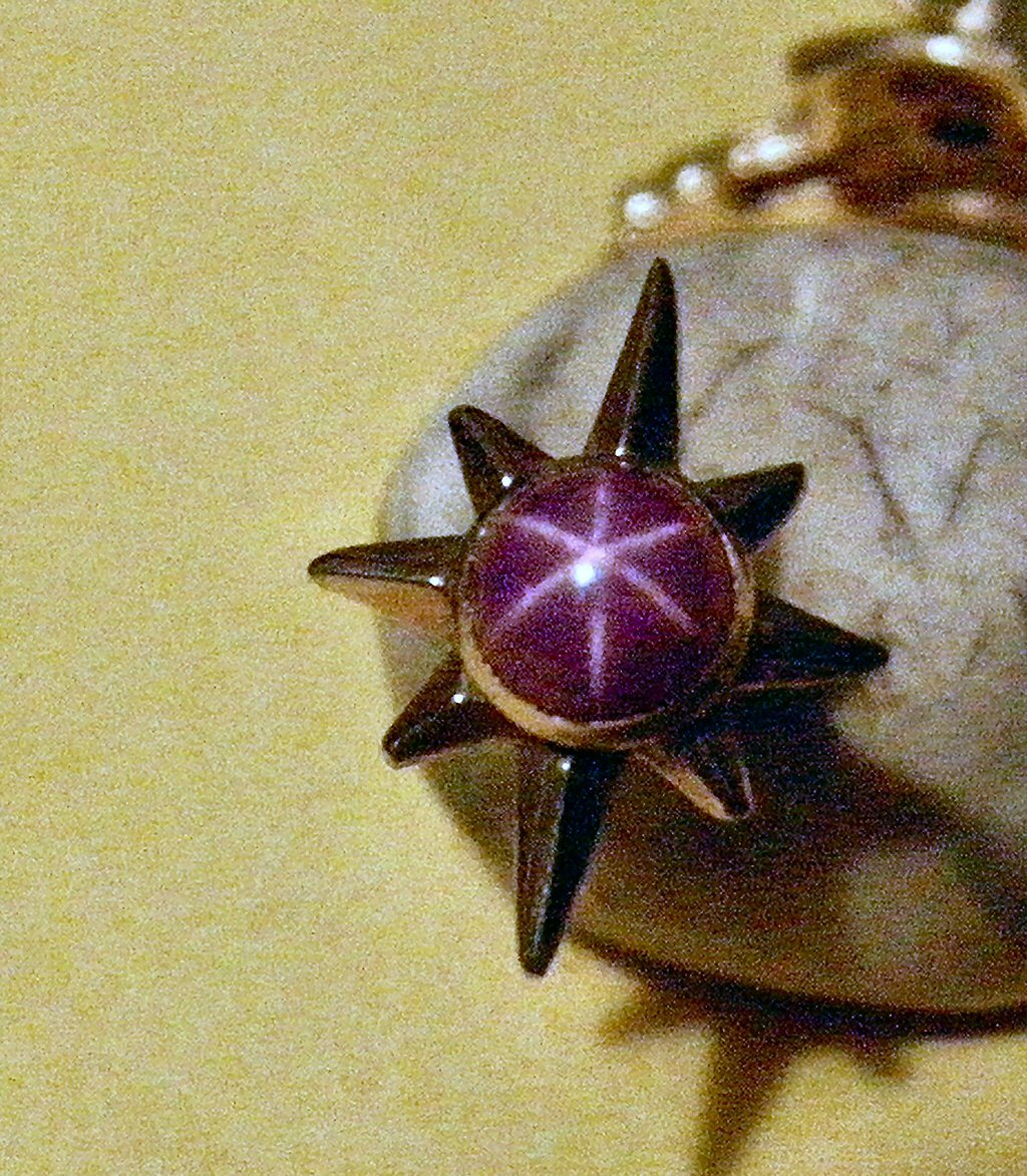 .50ct Pink Star Sapphire 14k Y Gold Pin Rare