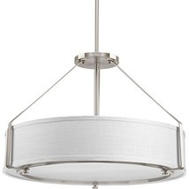 Four-Light Pendant in Brushed Nickel Finish with Fabric Shade Shade - $319.00