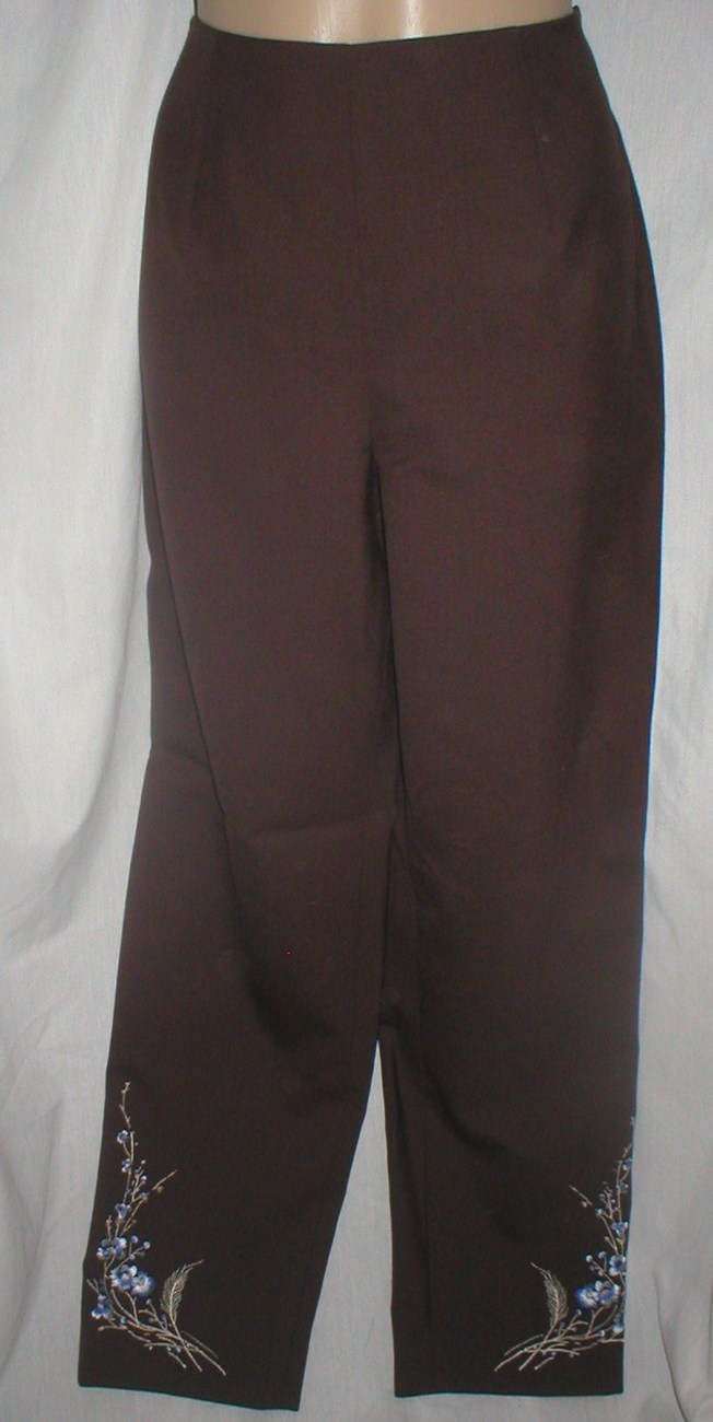 Ann Taylor Loft Brown floral embroider accent wool pants 6