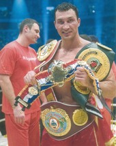 WLADIMIR KLITSCHKO 8X10 PHOTO BOXING PICTURE CHAMPION WITH BELTS - $3.95