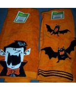 Halloween Hand Towels Set of 2 Vampire Bats Dracula NEW - $8.00