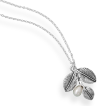 Silver Necklae with Oxidized Leaf and Pearl Drop - $74.95