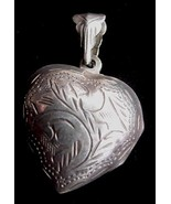 Old Engraved 925 Sterling Silver Puffy Heart Locket Pendant - $22.50