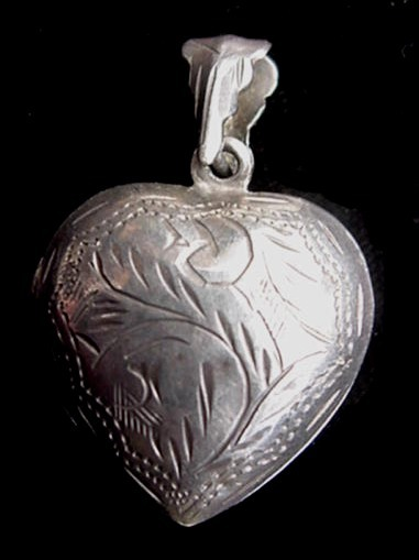 Old Engraved 925 Sterling Silver Puffy Heart Locket Pendant