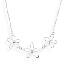 Diamond Cut Sterling Silver Cut Out Flower Design Necklace - $49.95