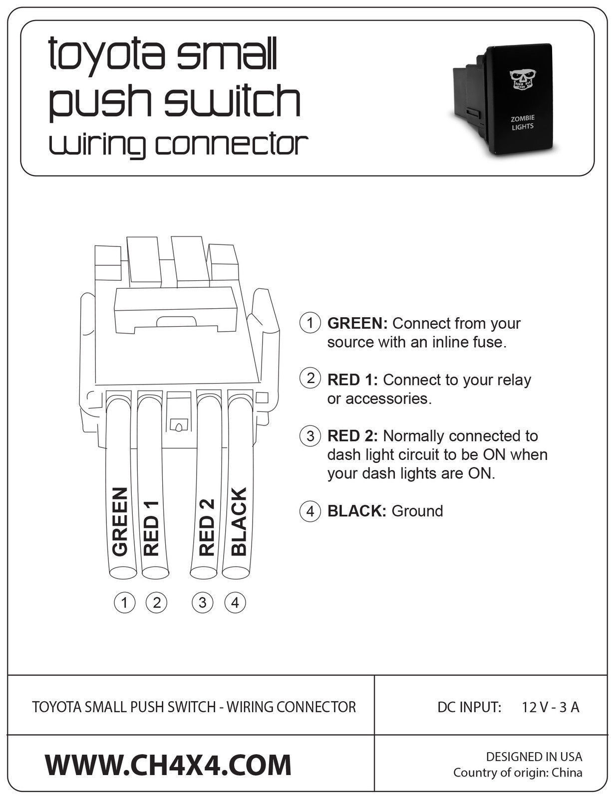 Power Symbol 2 CH4X4 Push Switch for Toyota Amber LED