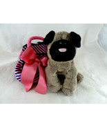 "Pug Pup Dog Plush Aurora World 7"" Tan Black in Pink & Black purse carrier - $11.87"